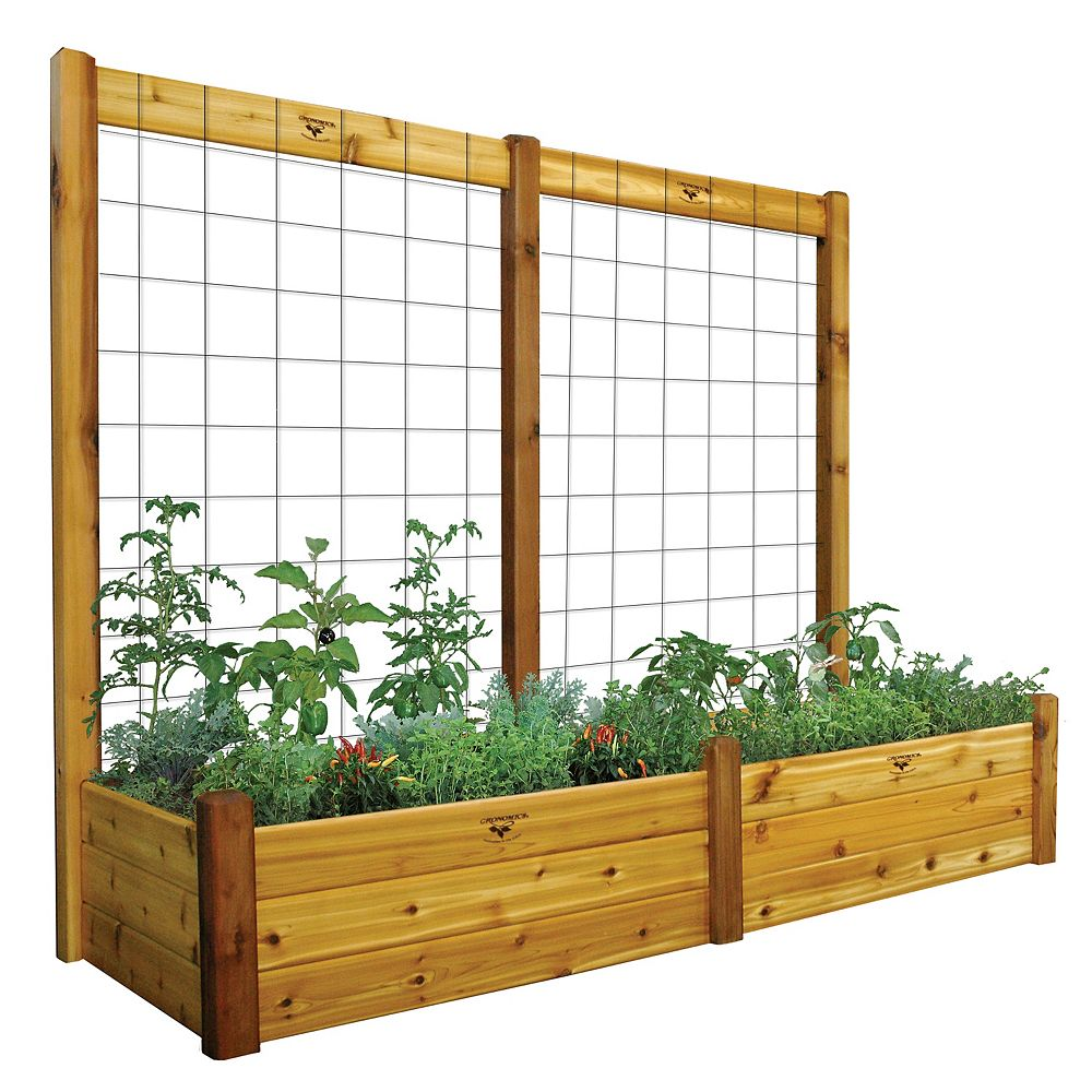 Gronomics 34-inch x 95-inch x 80-inch x 15-inch D Raised Garden Bed with Trellis Kit & Food Safe Finish