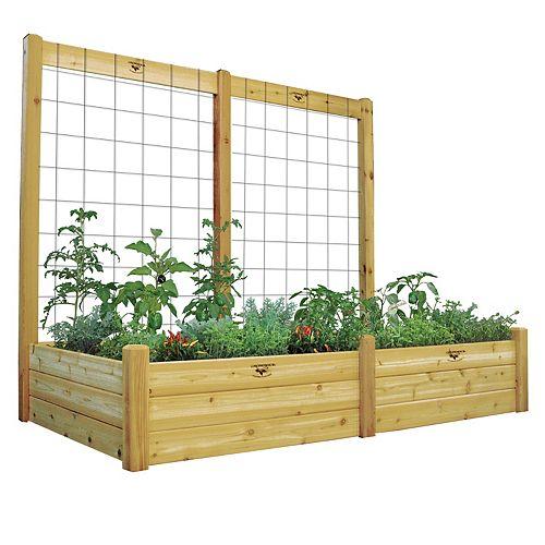 Planche de jardin de 48 x 95 x 19po avec treillis de 95 x 80po, fini non toxique