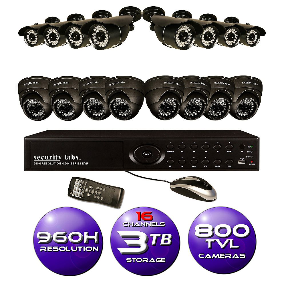 Security Labs 16 CH 960H DVR Surveillance System with 3TB HD and (16) 800TVL IR Weatherproof Cameras