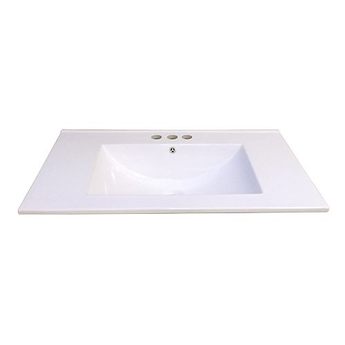 30-Inch W x 18 1/4-Inch D Ceramic Vanity Top in White with Wave Bowl
