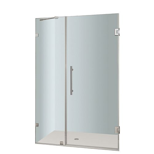 Aston Nautis 37 In. x 72 In. Completely Frameless Hinged Shower Door in Chrome