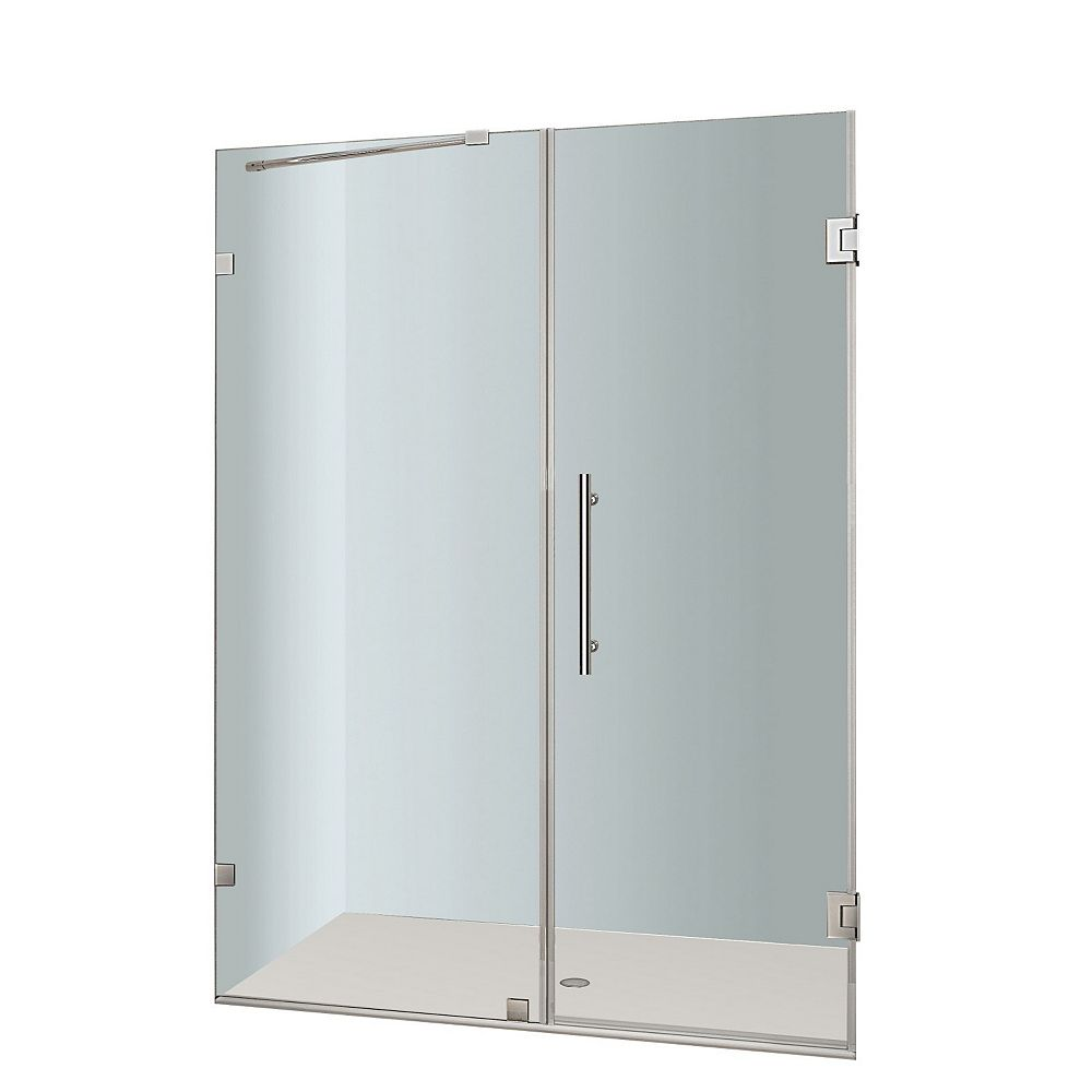Aston Nautis 52 In. x 72 In. Completely Frameless Hinged Shower Door in Stainless Steel