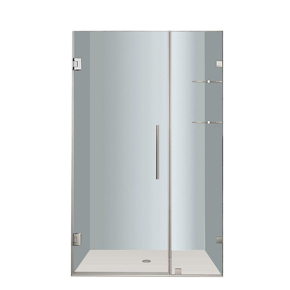 Aston Nautis GS 42 In. x 72 In. Completely Frameless Hinged Shower Door with Glass Shelves in Chrome