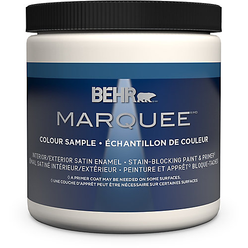 Marquee 8 oz Medium Base Satin Enamel Interior Paint Sample with Primer