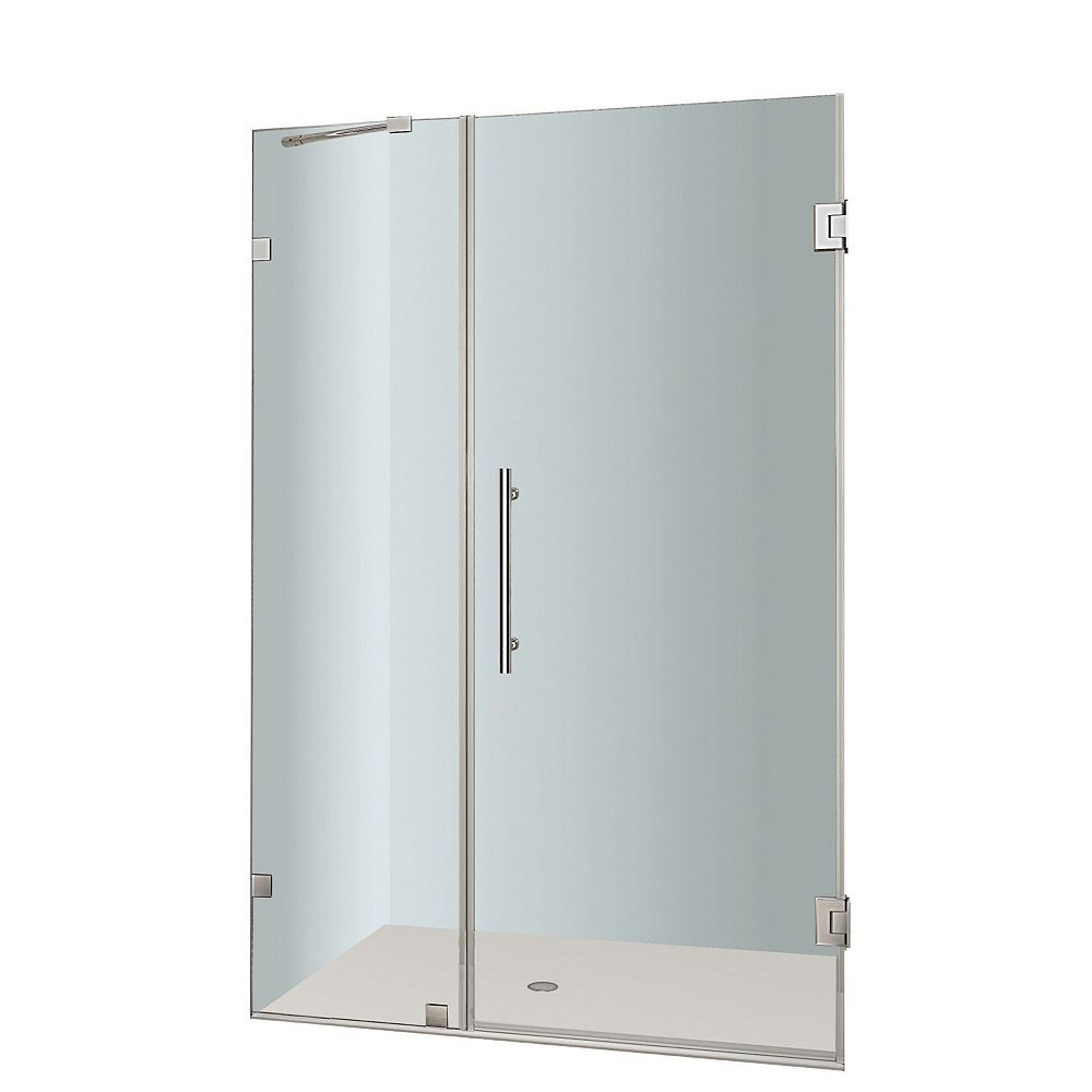Aston Nautis 39 In. x 72 In. Completely Frameless Hinged Shower Door in Stainless Steel