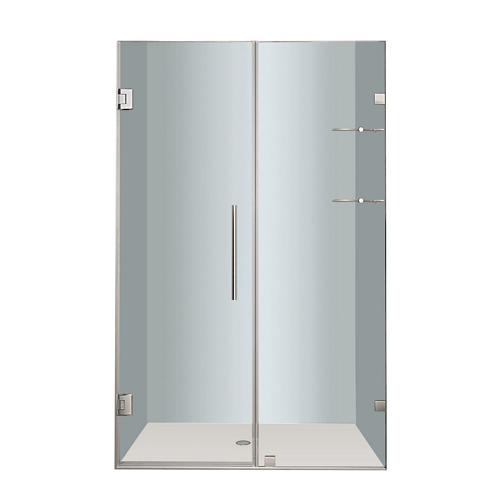 Aston Nautis GS 50 In. x 72 In. Completely Frameless Hinged Shower Door with Glass Shelves in Chrome