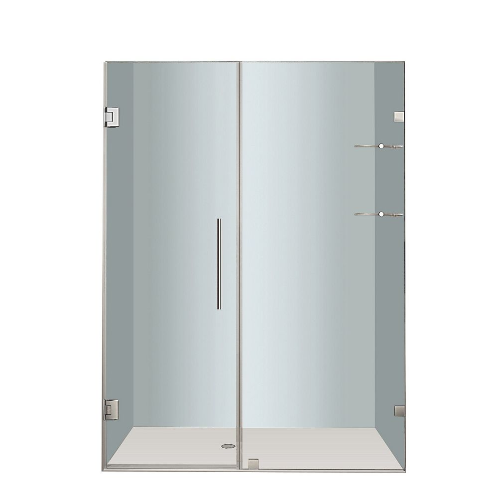 Aston Nautis GS 52 In. x 72 In. Completely Frameless Hinged Shower Door with Glass Shelves in Stainless Steel