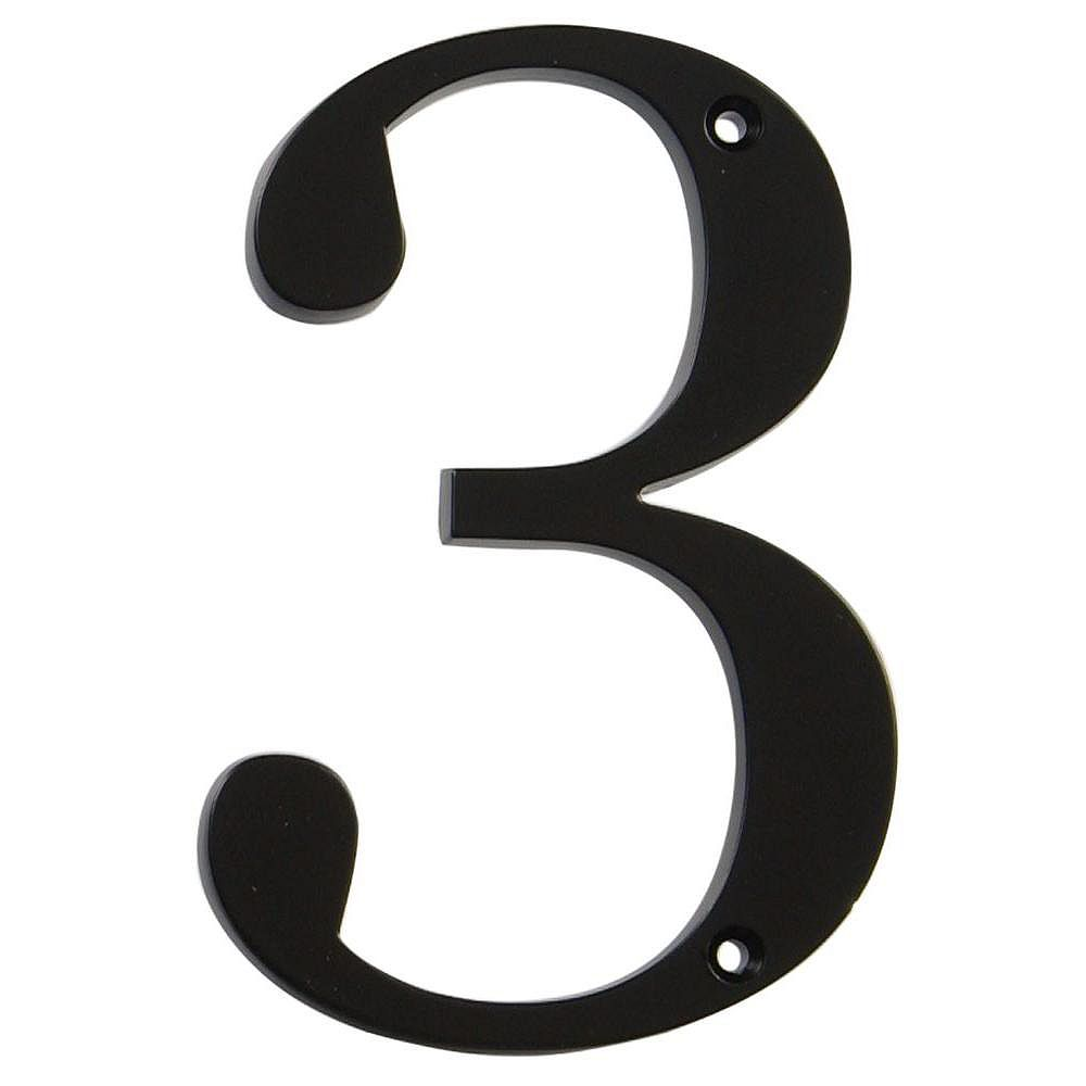 Hillman 4 Inch Black House Number 3