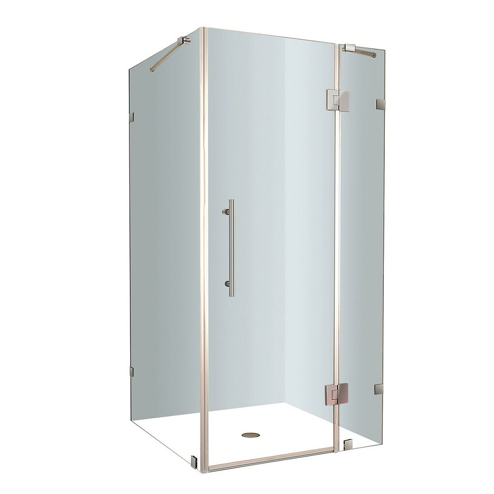 Aston Avalux 34-Inch  x 34-Inch  x 72-Inch  Frameless Shower Stall in Stainless Steel