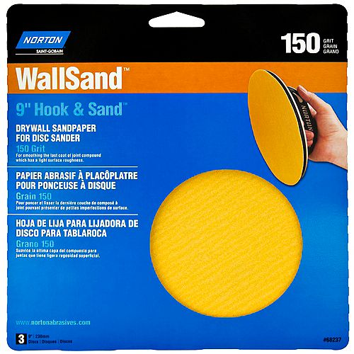 9 Inch Wallsand Hook & Loop Disc 150 Grit (3-Pack)
