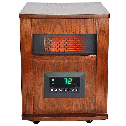 6 Element Large Room Infrared Heater w/ All Wood Cabinet and Remote