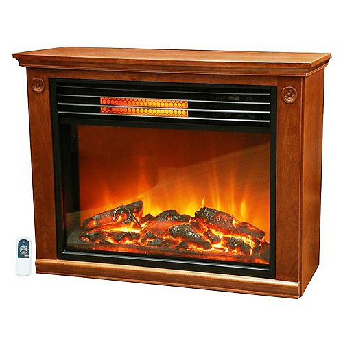 Easy Set Large Room Infrared Fireplace Heater Includes All Wood Mantle & Remote