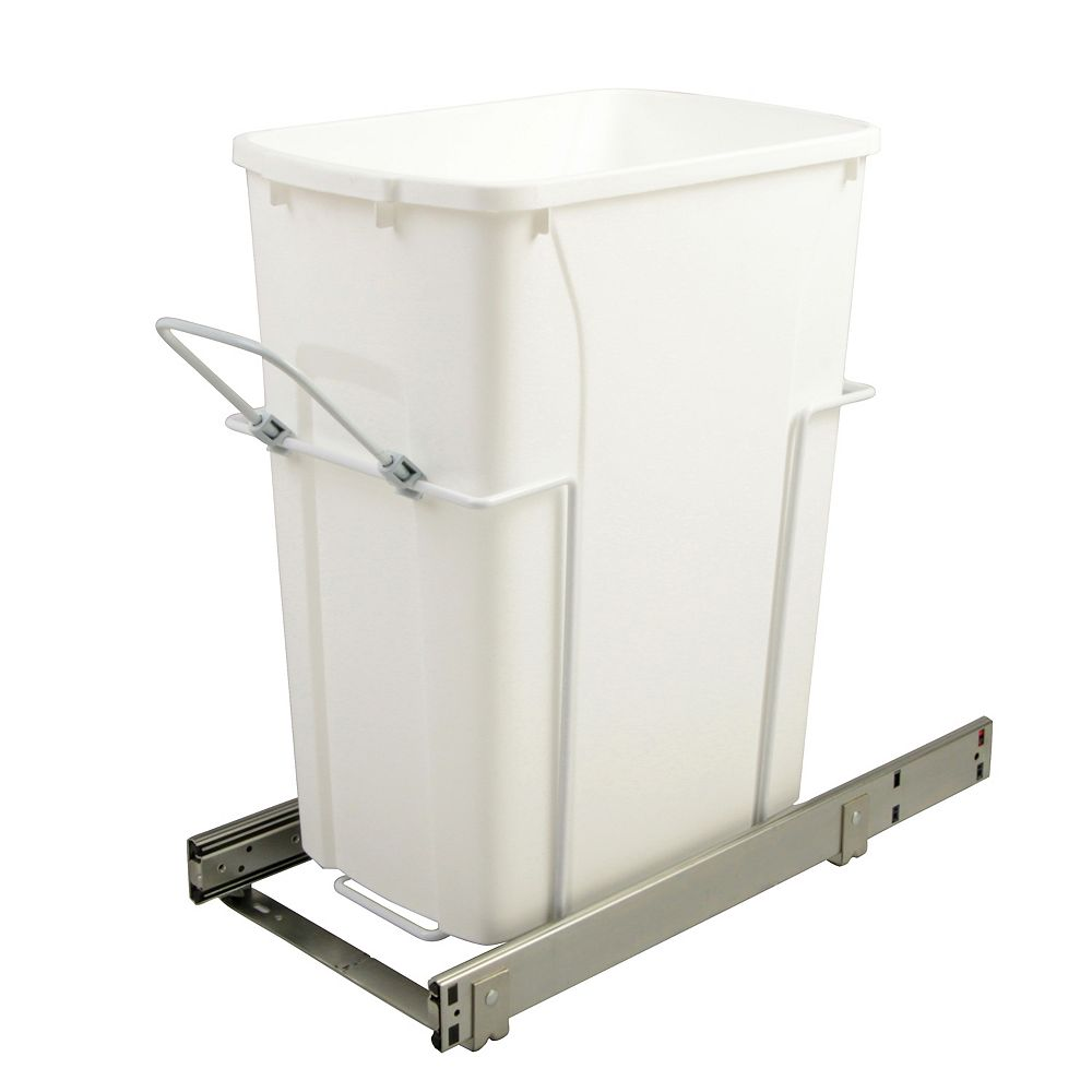 Knape & Vogt 9.625-inch x 20.125-inch x 18.813-inch 33.1 L In-Cabinet Single Bottom-Mount Pull-Out Trash Can