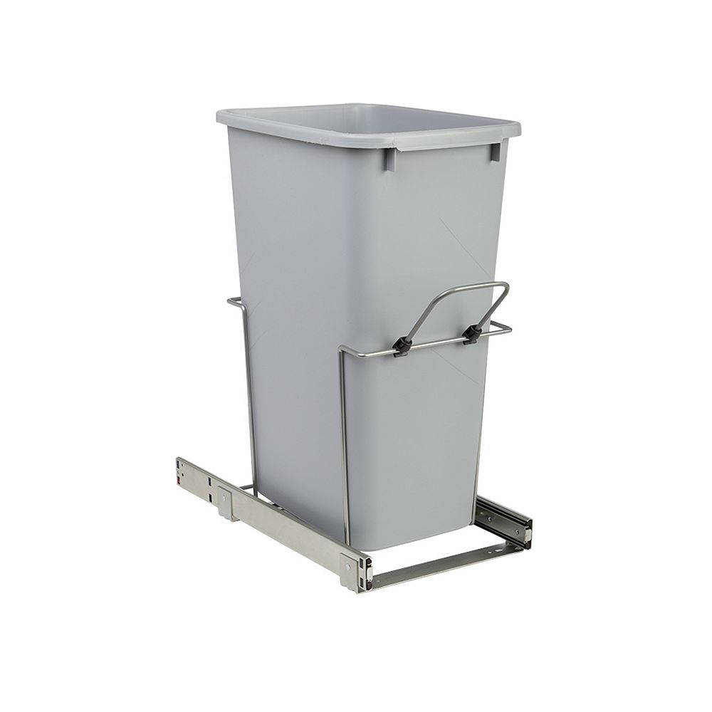 Knape & Vogt 11.375-inch x 20.125-inch x 22.875-inch 47.3 L In-Cabinet Single Bottom-Mount Pull-Out Trash Can