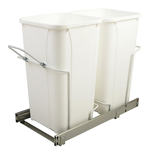 11-inch x 22-inch x 18.75-inch 25.5 L In-Cabinet Double Soft-Close Bottom-Mount Pull-Out Trash Can