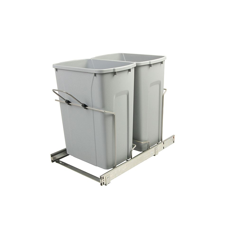 Knape & Vogt 14.375-inch x 22-inch x 18.75-inch 33.1 L In-Cabinet Double Bottom-Mount Pull-Out Trash Can