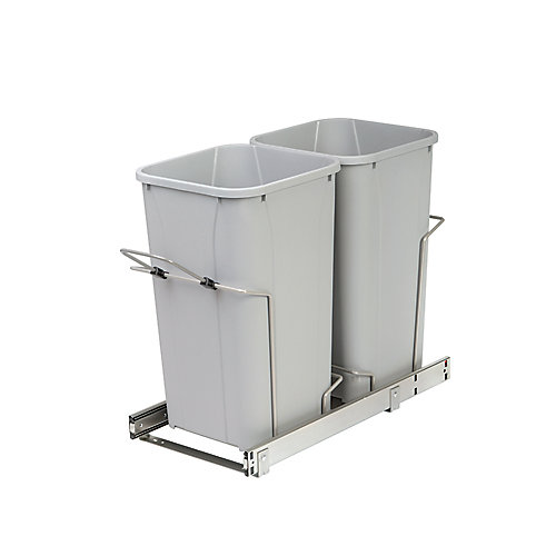 22 X 11 X 18.75 In-Cabinet Double Soft-Close Bottom-Mount 27 Qt. Pull-Out Trash Can
