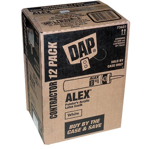 DAP 300mL Alex Painter's Acrylic Latex Caulk Cartridge White (12-Pack)
