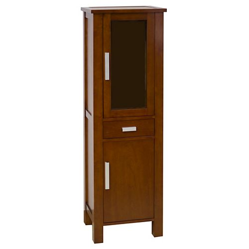 20 In. W X 62 In. H Transitional Birch Wood-Veneer Linen Tower In Cherry - Brushed Nickel