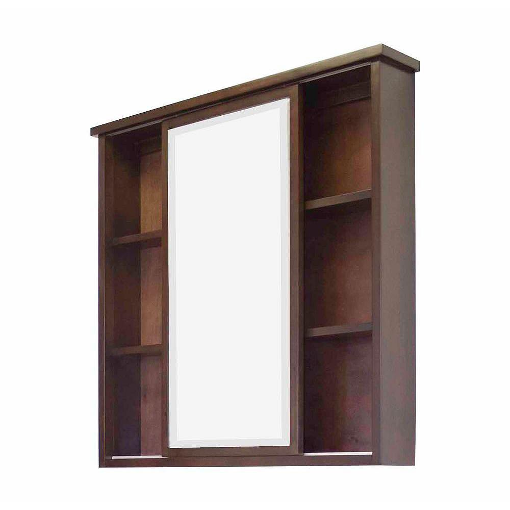 American Imaginations 35 po W x 35 po H transitional birch wood-placage armoire à pharmacie en noyer - chrome