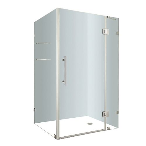 Aston Avalux GS 40-Inch  x 32-Inch  x 72-Inch  Frameless Shower Stall with Glass Shelves in Chrome