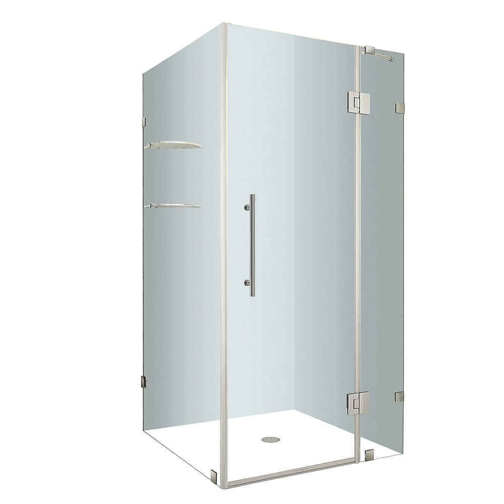 Aston Avalux GS 36-Inch  x 36-Inch  x 72-Inch  Frameless Shower Stall with Glass Shelves in Stainless Steel