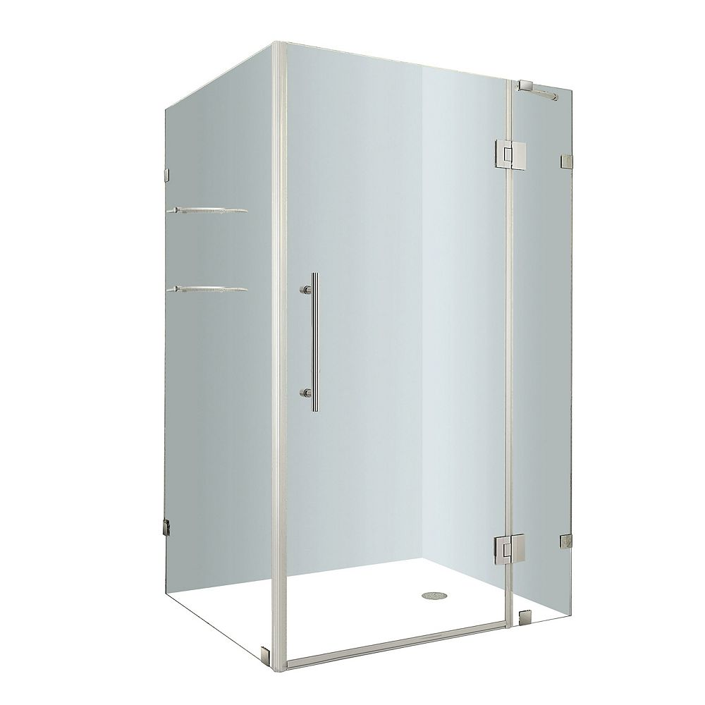 Aston Avalux GS 48-Inch  x 32-Inch  x 72-Inch  Frameless Shower Stall with Glass Shelves in Stainless Steel