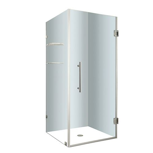Aquadica GS 36-Inch  x 36-Inch  x 72-Inch  Frameless Square Shower Stall with Glass Shelves in Chrome