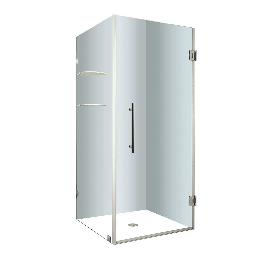 Aston Aquadica GS 34-Inch  x 34-Inch  x 72-Inch  Frameless Square Shower Stall in Stainless Steel