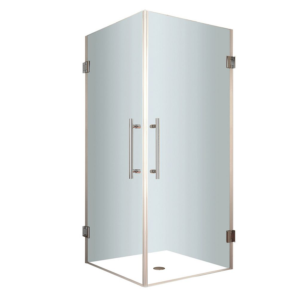 Aston Vanora 34-Inch  x 34-Inch  x 72-Inch  Frameless Square Shower Stall in Stainless Steel