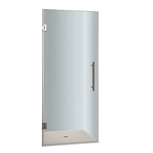 Cascadia 25-inch x 72-inch Completely Frameless Hinged Shower Door in Stainless Steel