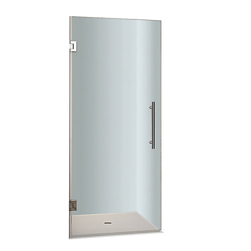 Cascadia 27-inch x 72-inch Completely Frameless Hinged Shower Door in Stainless Steel