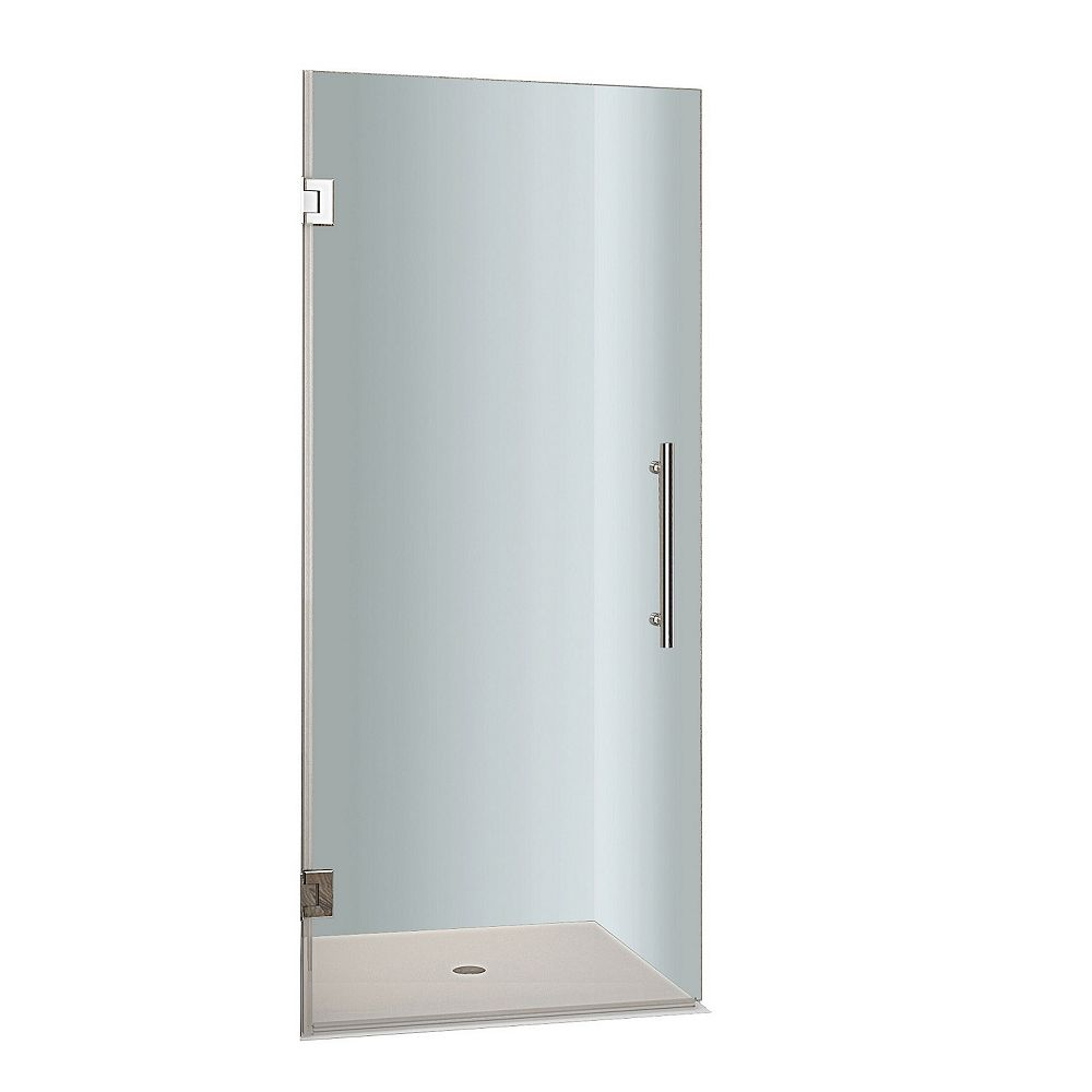 Aston Cascadia 27-inch x 72-inch Completely Frameless Hinged Shower Door in Stainless Steel