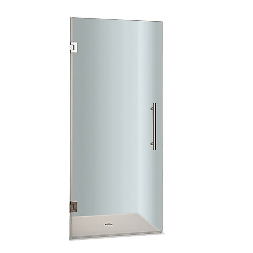 Cascadia 28-inch x 72-inch Completely Frameless Hinged Shower Door in Stainless Steel