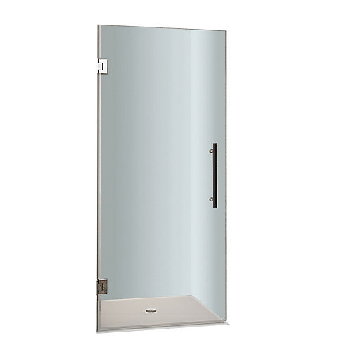 Cascadia 29-inch x 72-inch Completely Frameless Hinged Shower Door in Stainless Steel
