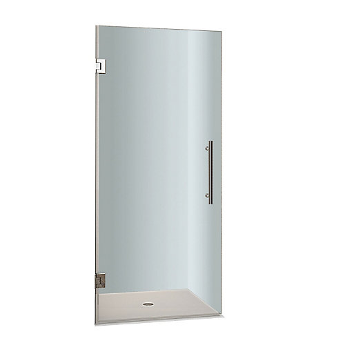 Cascadia 30-inch x 72-inch Completely Frameless Hinged Shower Door in Stainless Steel