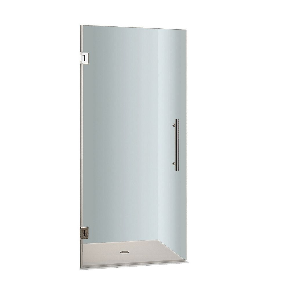Aston Cascadia 38 In. x 72 In. Completely Frameless Hinged Shower Door in Stainless Steel