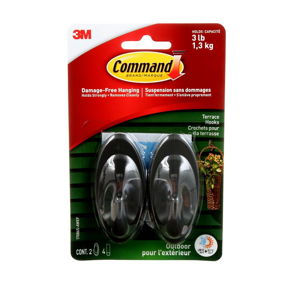 Command Medium Terrace Hooks with All Weather Strips, 17086S-AWC, slate
