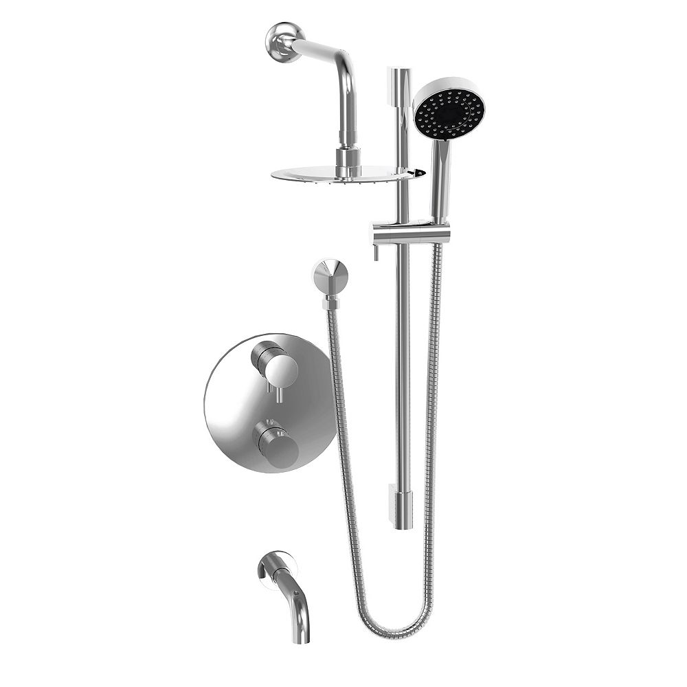 thermostatic rain shower faucet in chrome