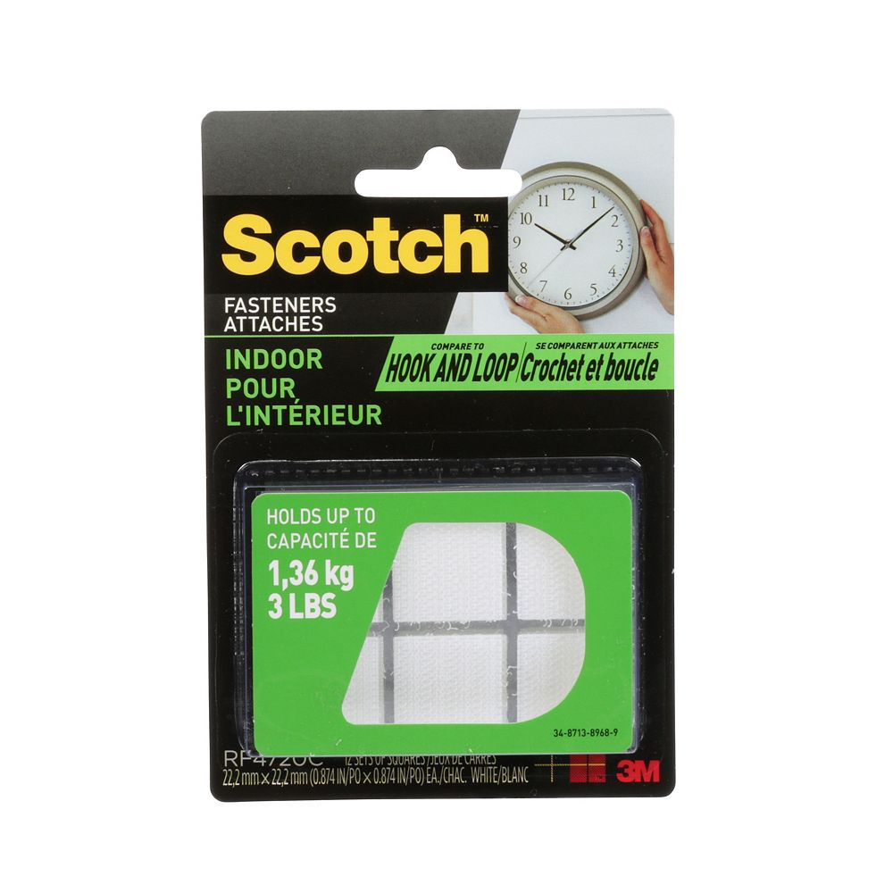 Scotch Attaches d'intérieur, 0,875 po X 0,875 po X 0,875 po