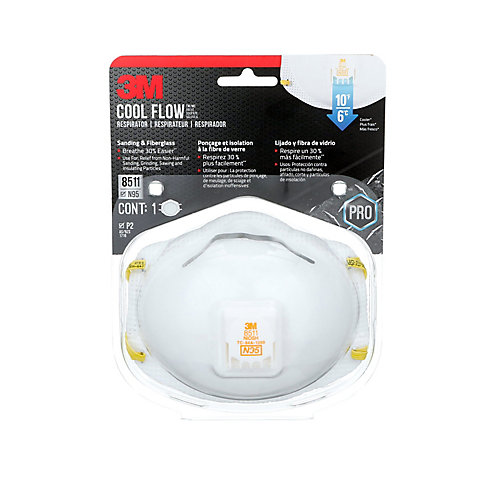 Cool Flow Sanding and Fibreglass Disposable Respirator, 8511HA1-C-PS, valved, white, 1/pack