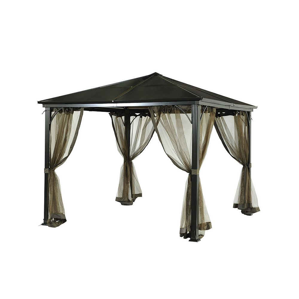 Sunjoy Birmingham 10 ft. x 10 ft. PC Hard Top Gazebo with Mosquito Netting