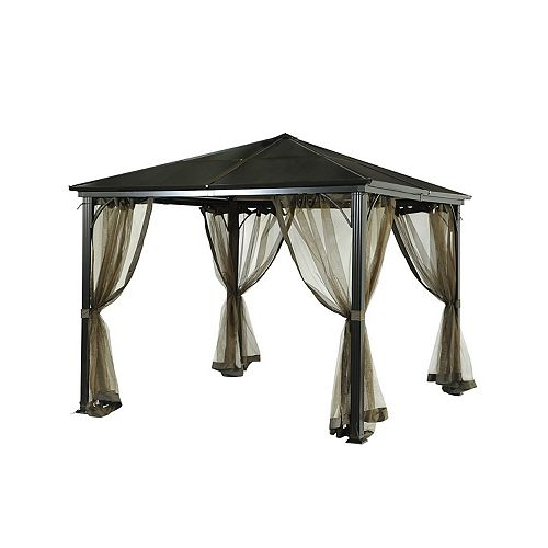 Birmingham 10 ft. x 10 ft. PC Hard Top Gazebo with Mosquito Netting