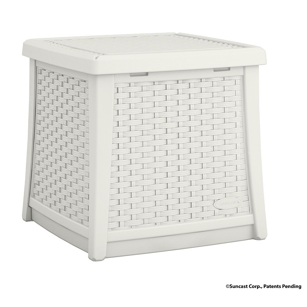 Suncast Elements 1.9 cu. ft. Side Table and Deck Box in White