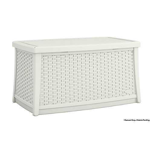 Patio Coffee Table with Storage in White