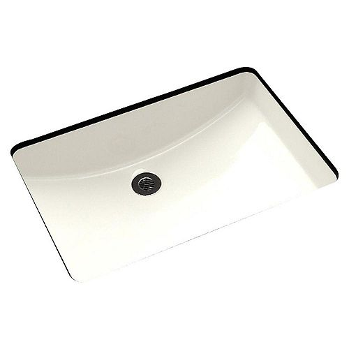 19-inch W x 14-inch D Rectangular Undermount Sink in Biscuit with Glaze Finish in Brushed Nickel
