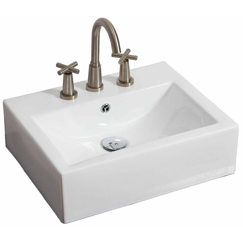 American Imaginations 20-inch W x 18-inch D Wall-Mount Rectangular Vessel Sink in White with Chrome