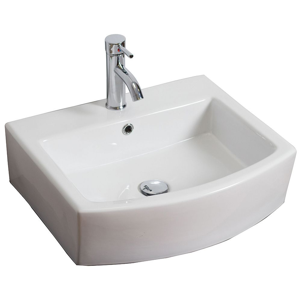 American Imaginations 22-inch W x 20-inch D Wall-Mount Rectangular Vessel Sink in White with Chrome