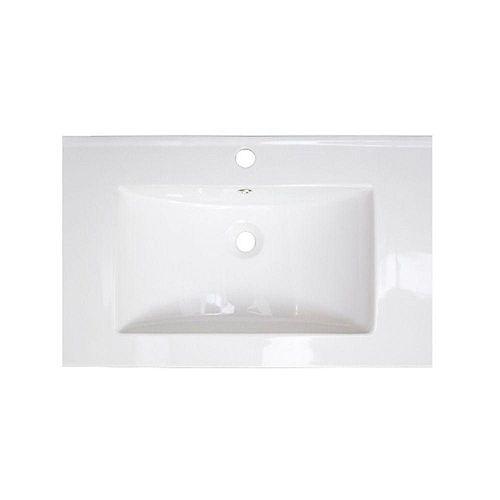 American Imaginations 30 po W x 18 po D haut céramique de couleur blanche pour robinet simple trou - nickel brossé