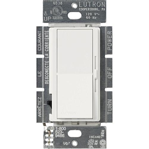 Lutron Gradateur de 250W Diva LED+ pour ampoules à DEL/halo/incand, unipolaire/3 voies, blanc